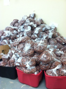 Packaged dog biscuits waiting to be delivered to animals in need