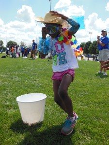 A girl participating in a relay