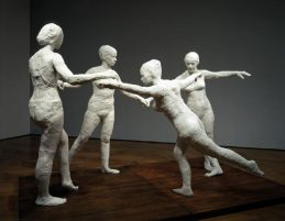 "George Segal made life-size sculptures by making plaster casts of real people and assembling the figures together.  This piece is his 1971 work, ""The Dancers."""