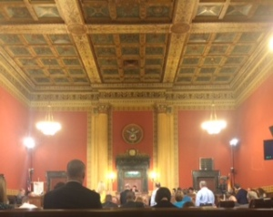 Inside the Council Chambers at a City Council meeting.