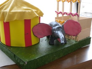 An elegant elephant and its circus tent