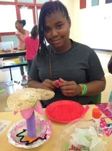 """Desjeenic was challenged to make her dream meal. She made the tall structure on the left and titled it """"Eye Food."""""""