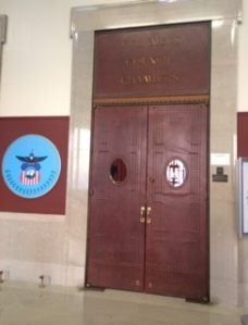 Outside the Columbus Council Chambers.