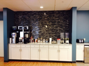 The new coffee station: my habitual hangout spot at RMHC