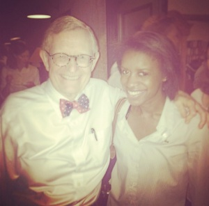 Former president of The Ohio State University E. Gordon Gee and I after providing him with updates about the summer fellowship experience.